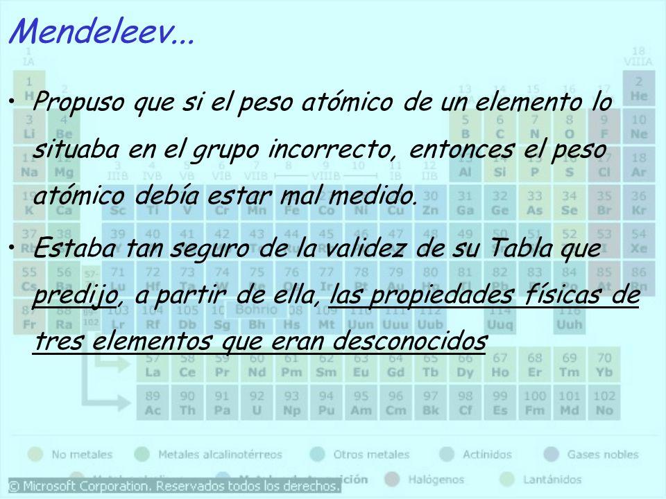 Mendeleev... Propuso que si el peso atómico de un elemento lo situaba en el grupo incorrecto, entonces el peso atómico debía estar mal medido.