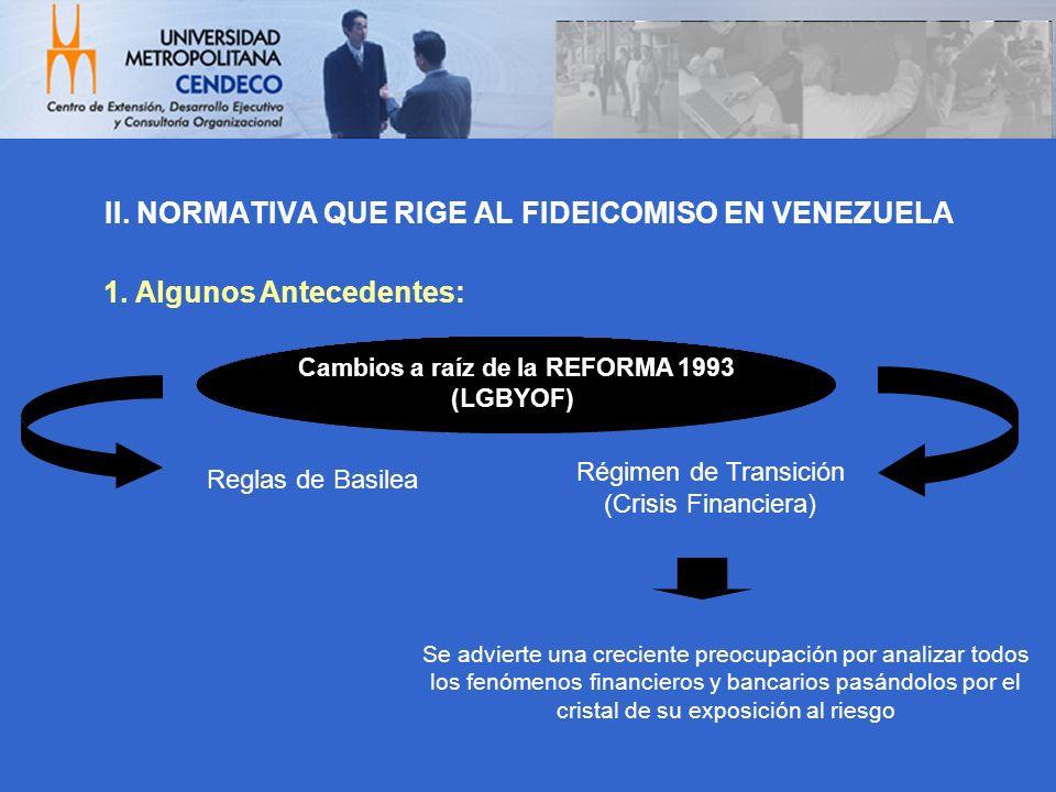 II. NORMATIVA QUE RIGE AL FIDEICOMISO EN VENEZUELA