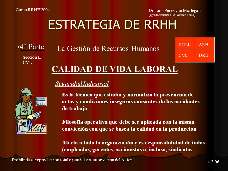 ESTRATEGIA DE RRHH CALIDAD DE VIDA LABORAL 4° Parte