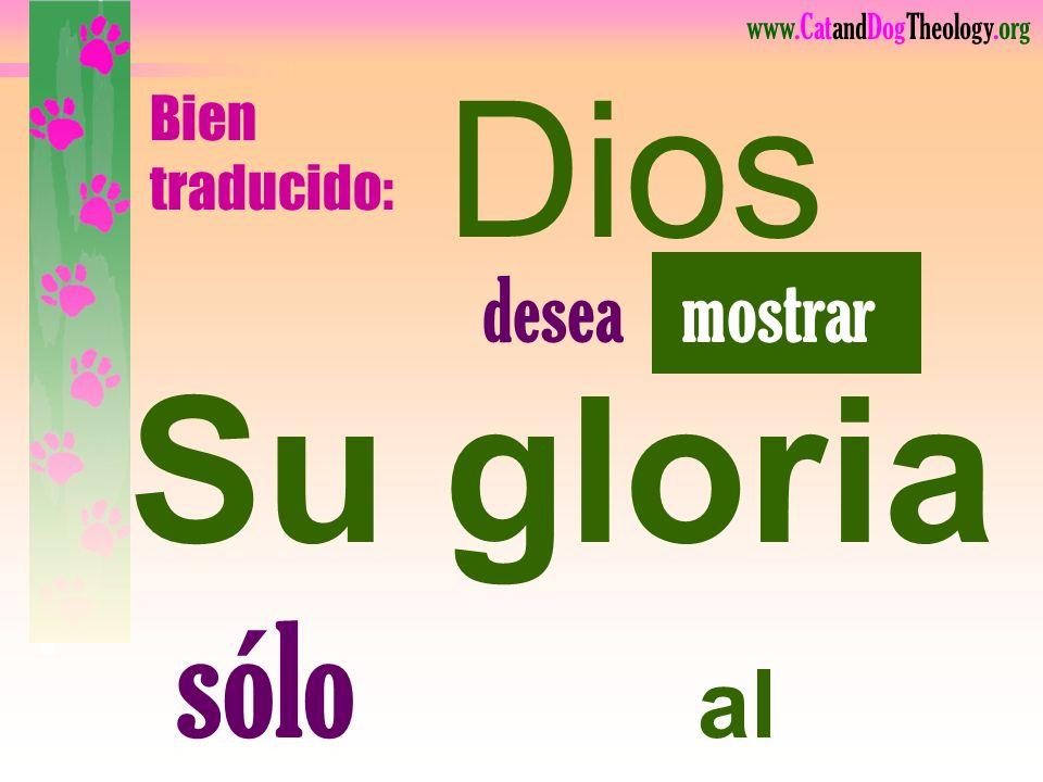 Su gloria sólo al salvarnos.