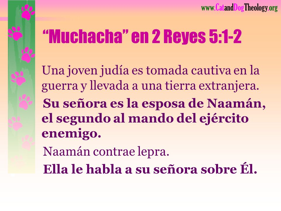 Muchacha en 2 Reyes 5:1-2 Una joven judía es tomada cautiva en la guerra y llevada a una tierra extranjera.