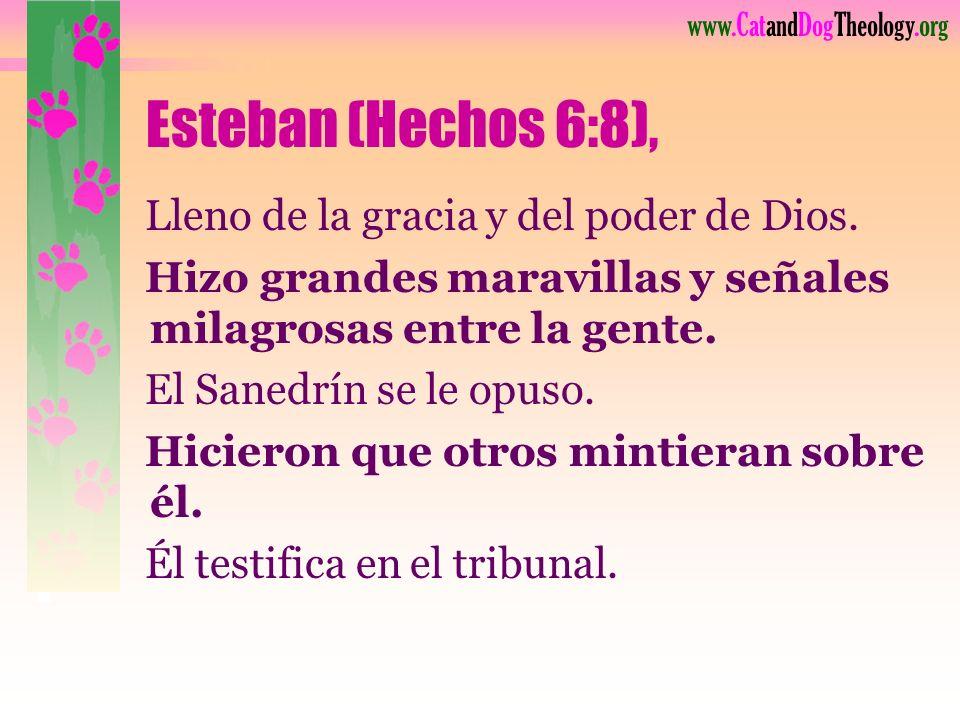 Esteban (Hechos 6:8), Lleno de la gracia y del poder de Dios.