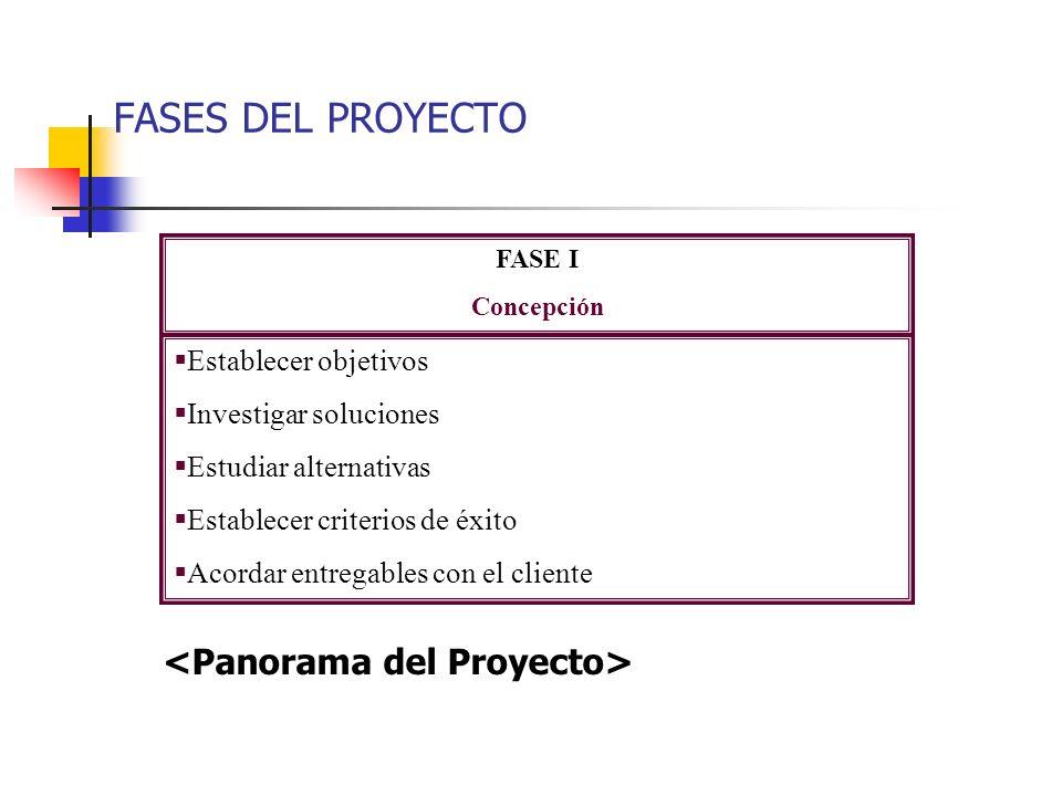 FASES DEL PROYECTO <Panorama del Proyecto> Establecer objetivos