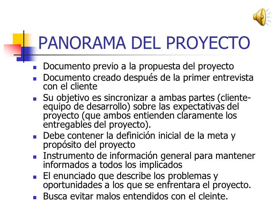 PANORAMA DEL PROYECTO Documento previo a la propuesta del proyecto