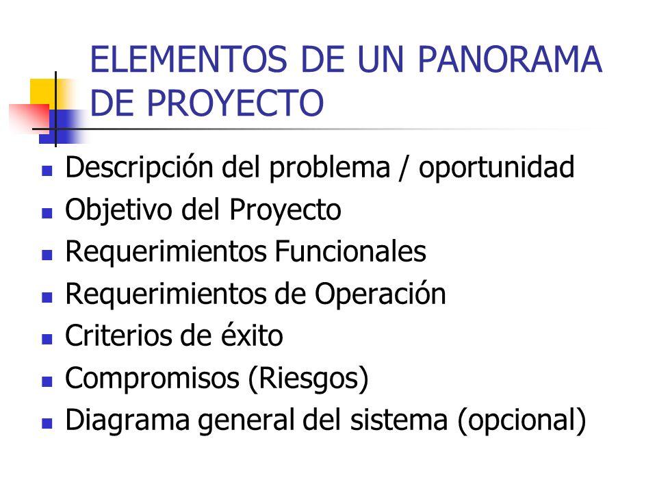 ELEMENTOS DE UN PANORAMA DE PROYECTO
