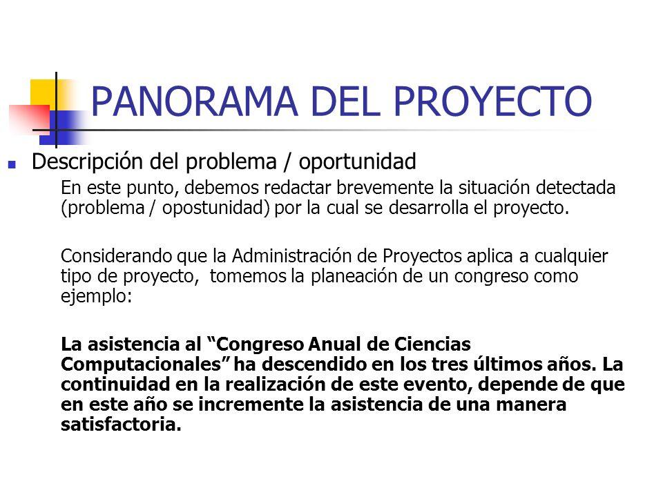 PANORAMA DEL PROYECTO Descripción del problema / oportunidad