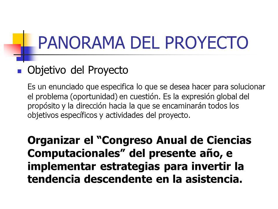 PANORAMA DEL PROYECTO Objetivo del Proyecto