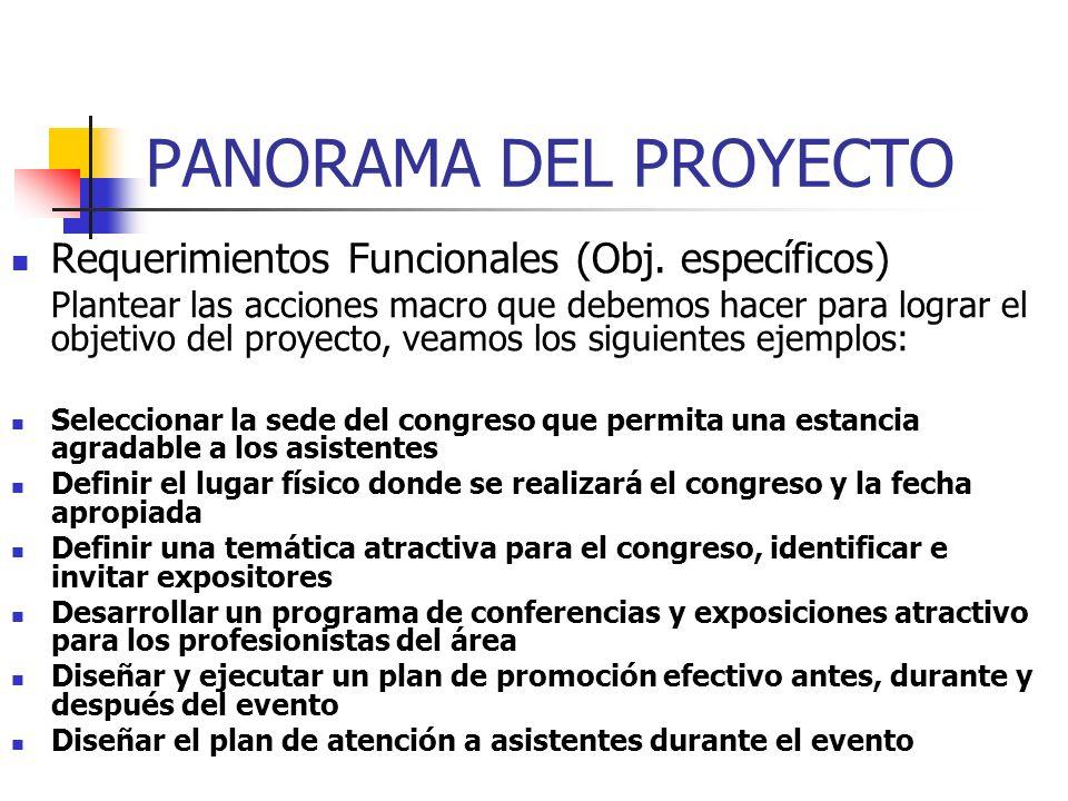 PANORAMA DEL PROYECTO Requerimientos Funcionales (Obj. específicos)