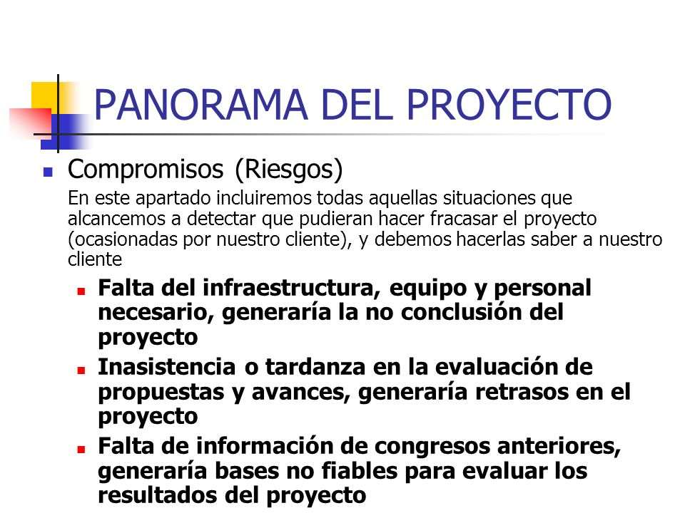 PANORAMA DEL PROYECTO Compromisos (Riesgos)