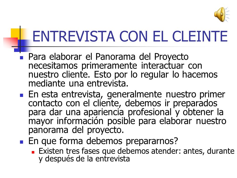 ENTREVISTA CON EL CLEINTE