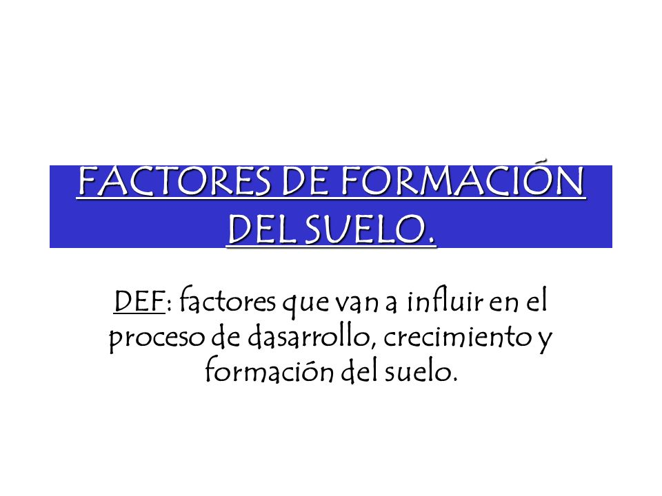 FACTORES DE FORMACIÓN DEL SUELO.