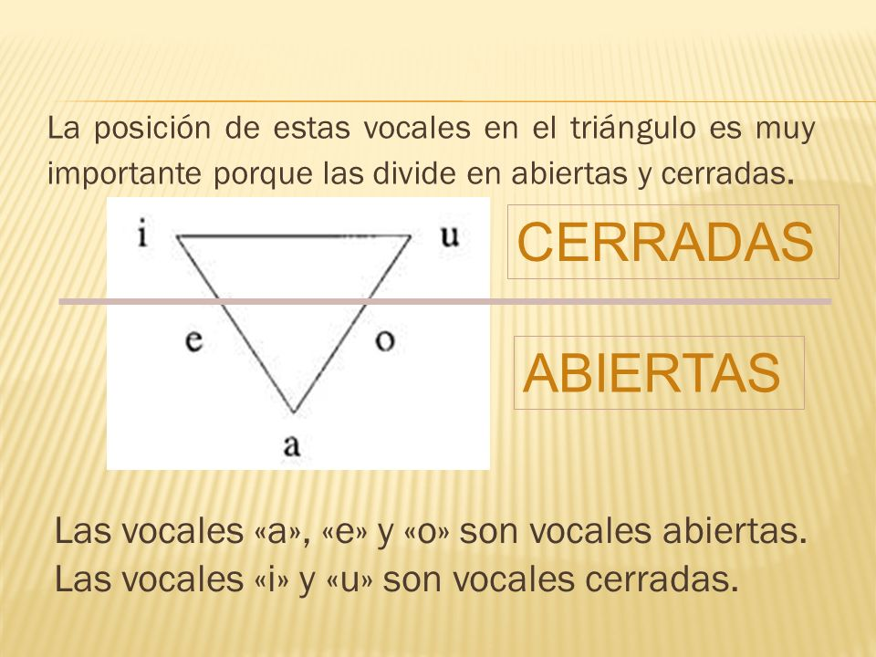 CERRADAS ABIERTAS Las vocales «a», «e» y «o» son vocales abiertas.