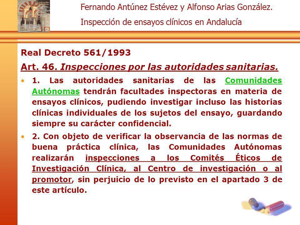 Art. 46. Inspecciones por las autoridades sanitarias.
