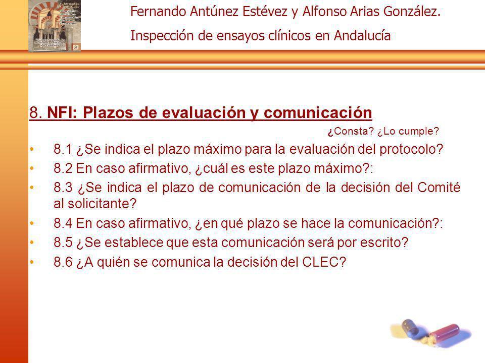 8. NFI: Plazos de evaluación y comunicación