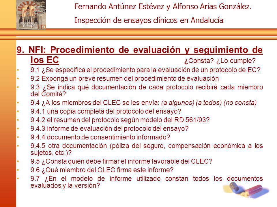 9. NFI: Procedimiento de evaluación y seguimiento de los EC ¿Consta