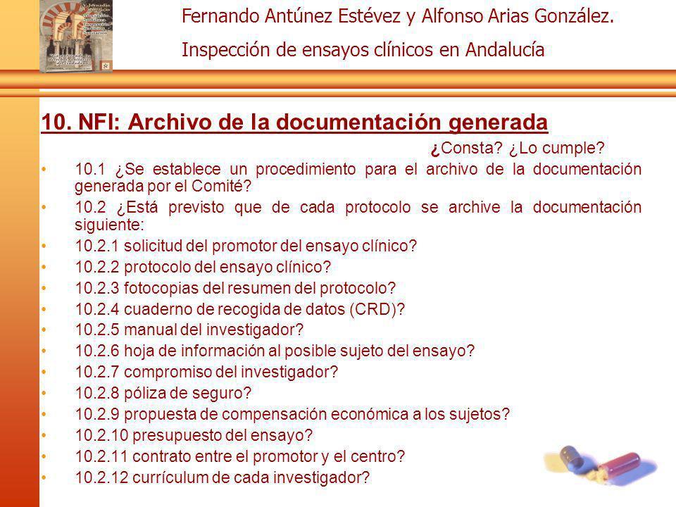 10. NFI: Archivo de la documentación generada
