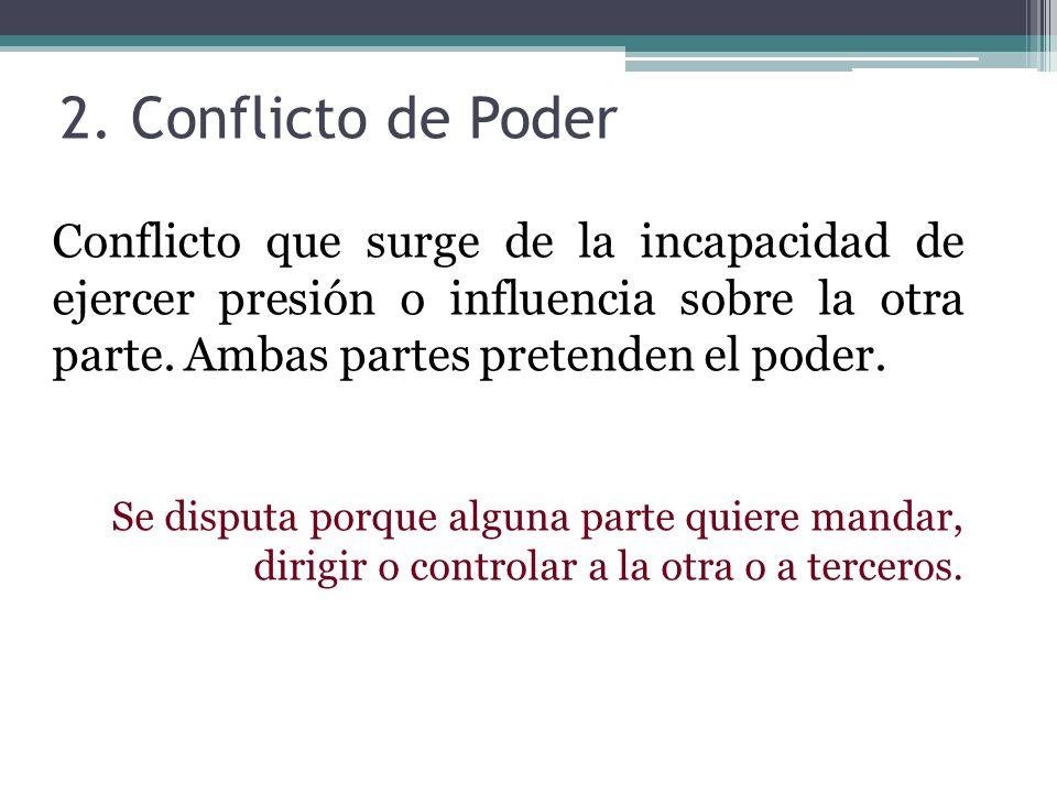 2. Conflicto de PoderConflicto que surge de la incapacidad de ejercer presión o influencia sobre la otra parte. Ambas partes pretenden el poder.