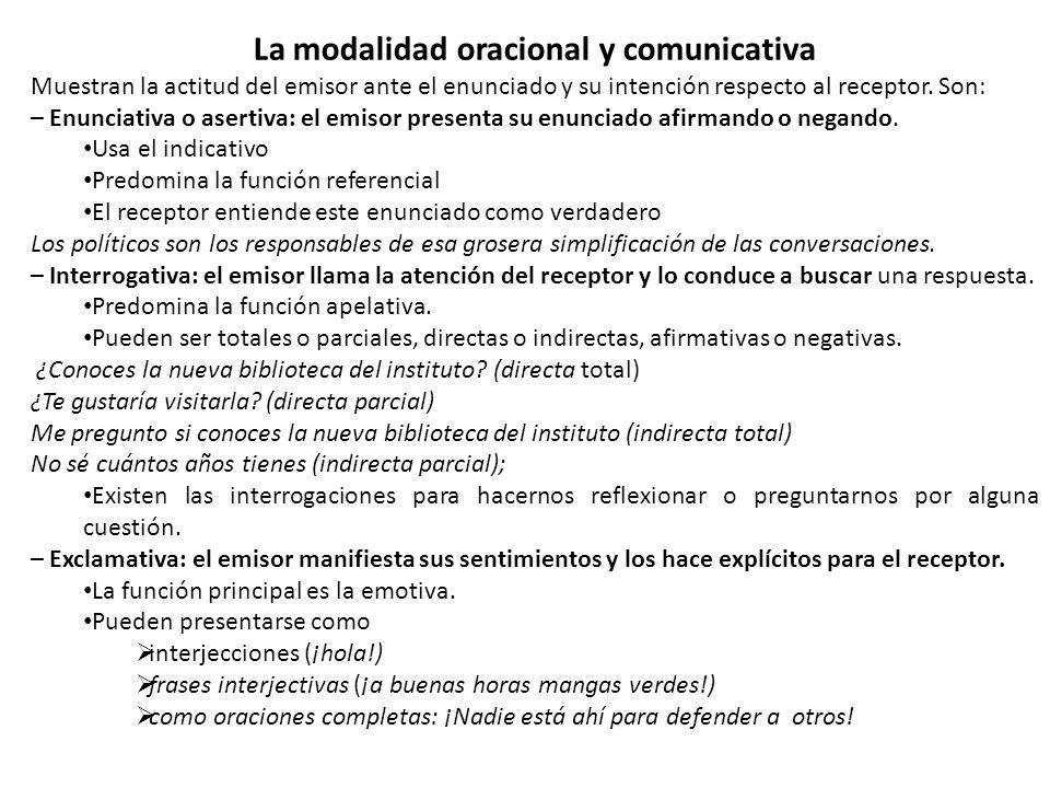 La modalidad oracional y comunicativa