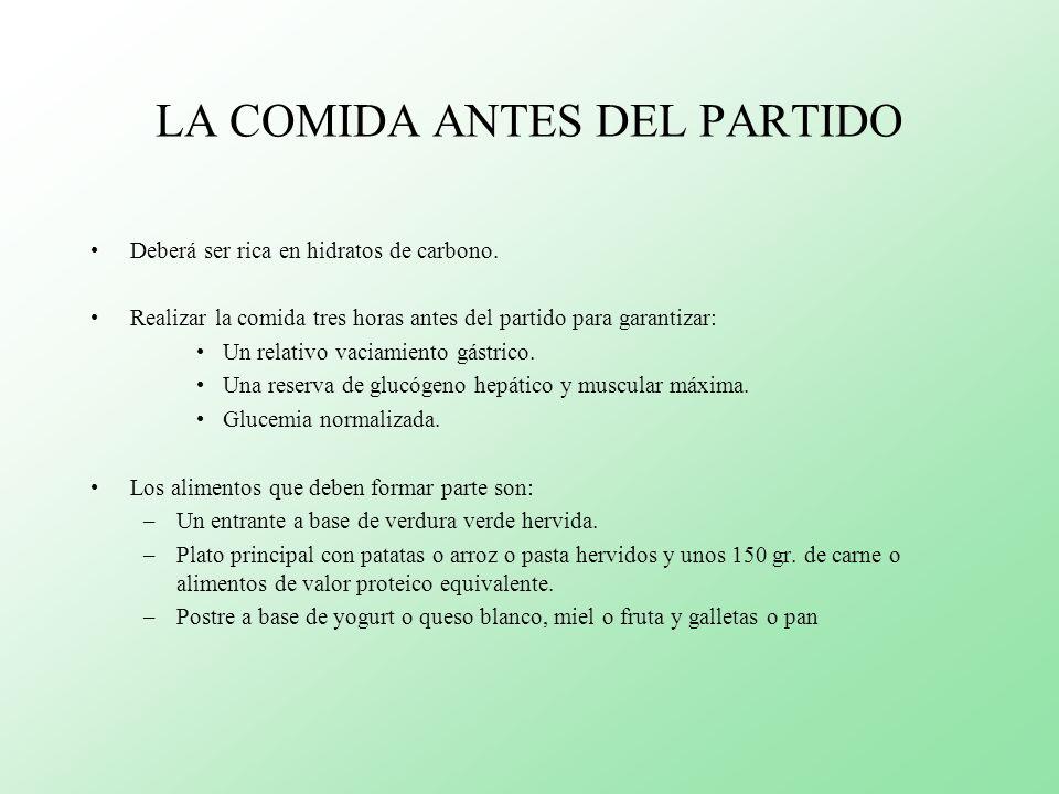 LA COMIDA ANTES DEL PARTIDO