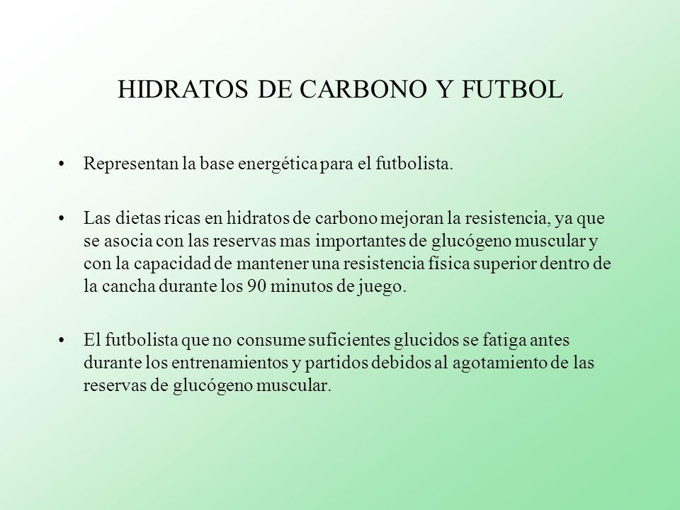 HIDRATOS DE CARBONO Y FUTBOL