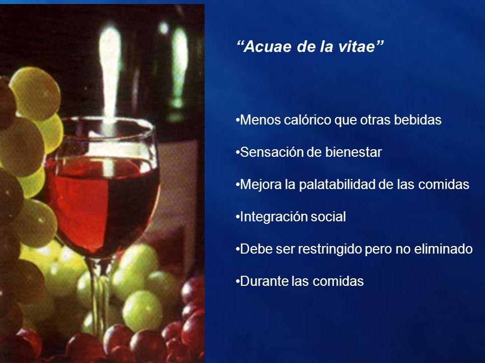 Acuae de la vitae Menos calórico que otras bebidas