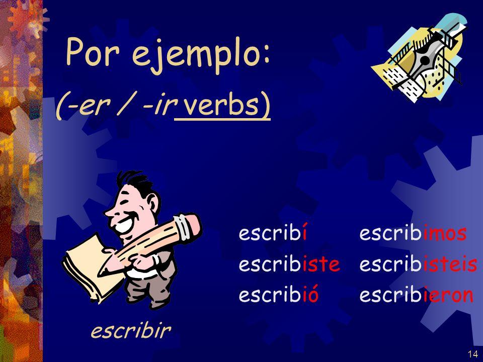 Por ejemplo: (-er / -ir verbs) escribir escribí escribiste escribió