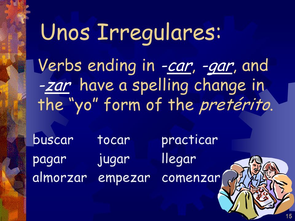 Unos Irregulares:Verbs ending in -car, -gar, and -zar have a spelling change in the yo form of the pretérito.