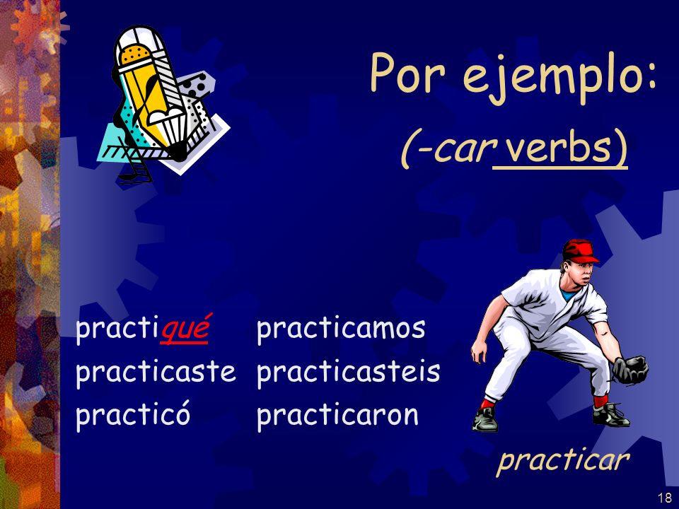 Por ejemplo: (-car verbs) practicar practiqué practicaste practicó