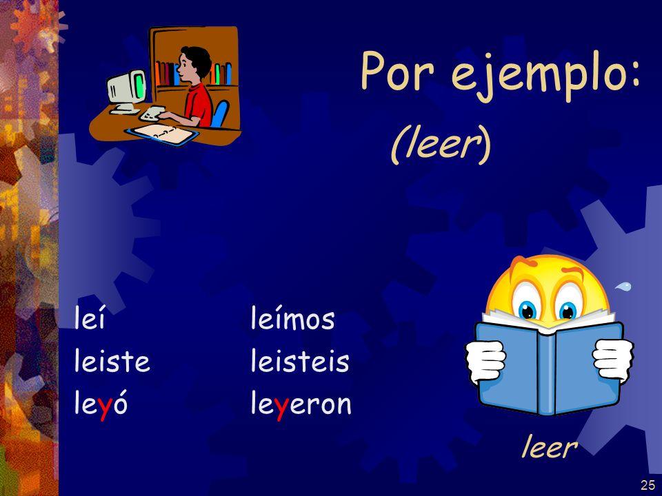 Por ejemplo: (leer) leí leiste leyó leímos leisteis leyeron leer