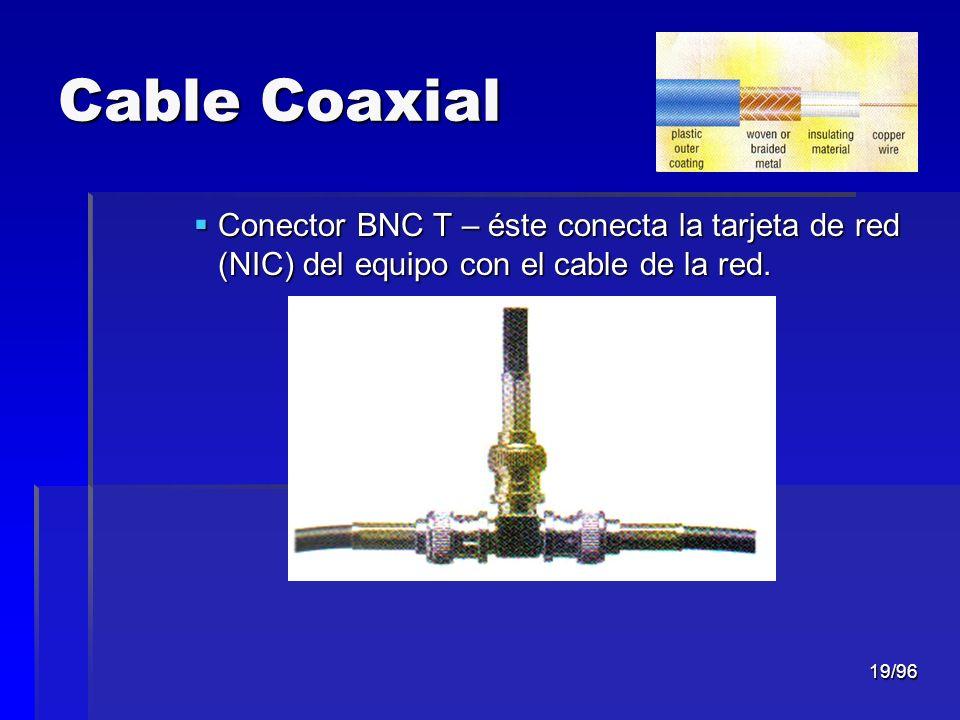 Cable Coaxial Conector BNC T – éste conecta la tarjeta de red (NIC) del equipo con el cable de la red.