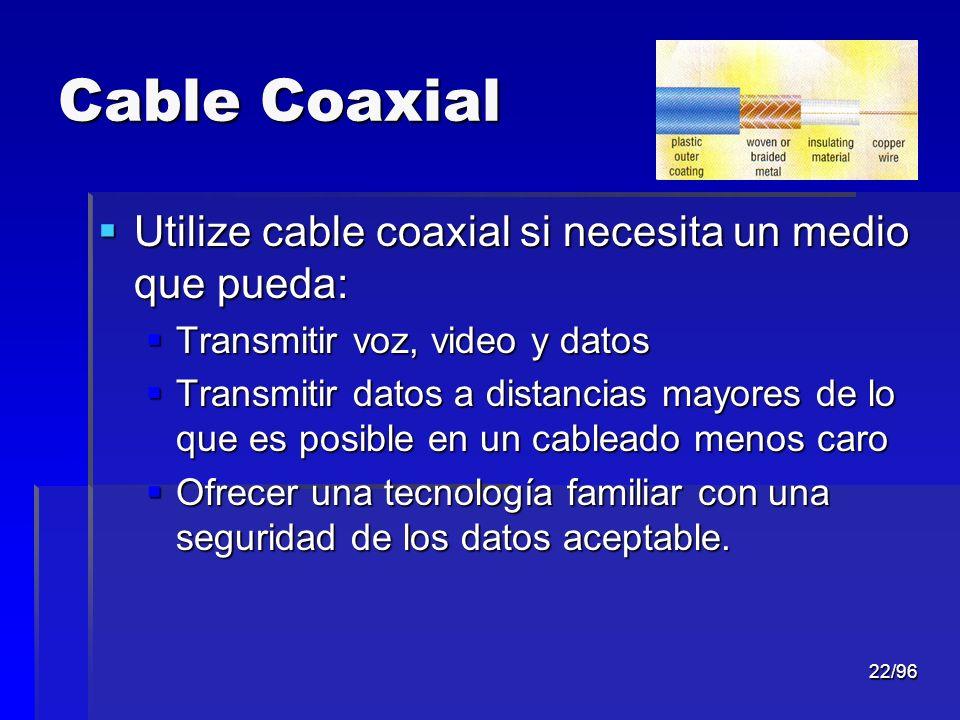 Cable Coaxial Utilize cable coaxial si necesita un medio que pueda: