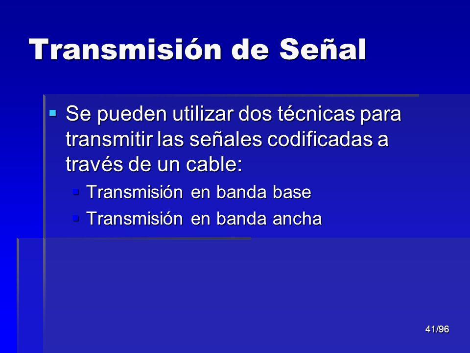 Transmisión de Señal Se pueden utilizar dos técnicas para transmitir las señales codificadas a través de un cable: