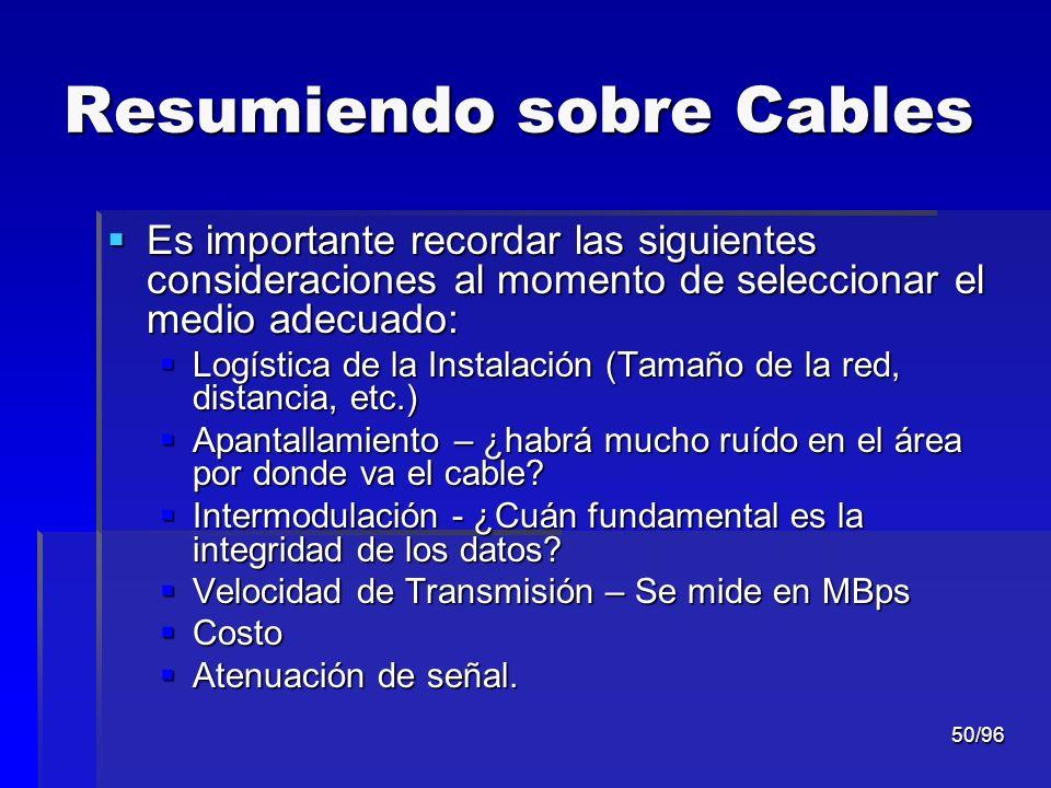 Resumiendo sobre Cables
