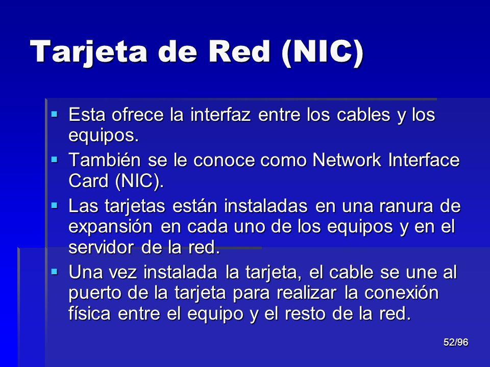 Tarjeta de Red (NIC) Esta ofrece la interfaz entre los cables y los equipos. También se le conoce como Network Interface Card (NIC).