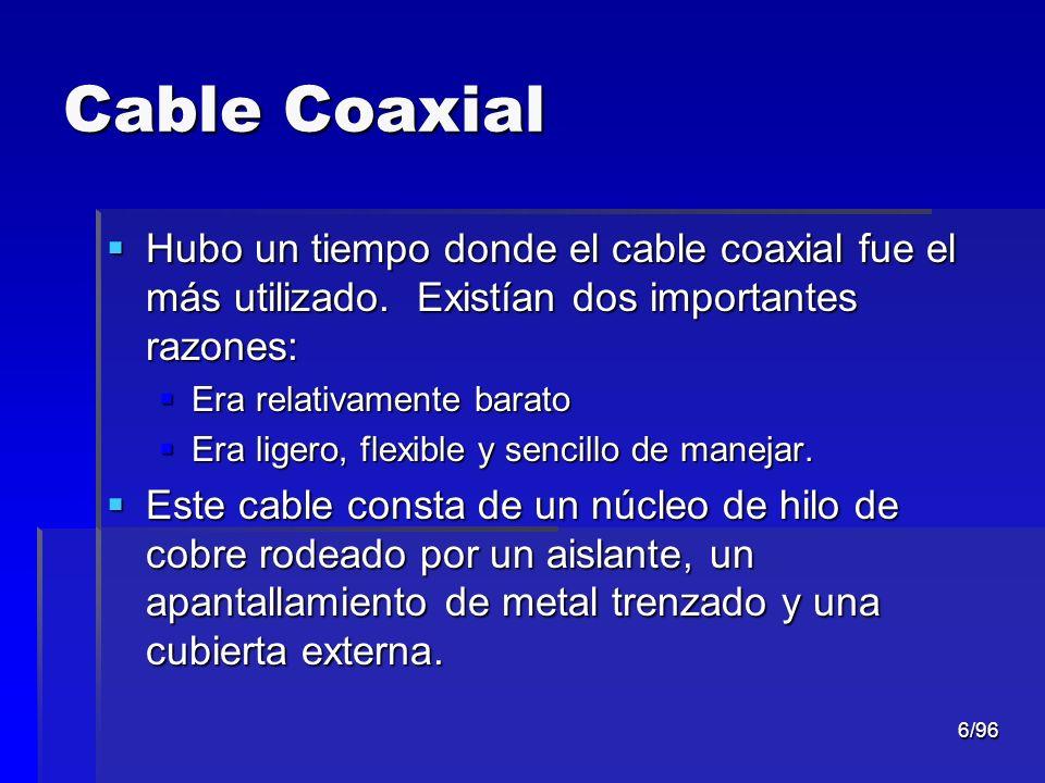 Cable Coaxial Hubo un tiempo donde el cable coaxial fue el más utilizado. Existían dos importantes razones: