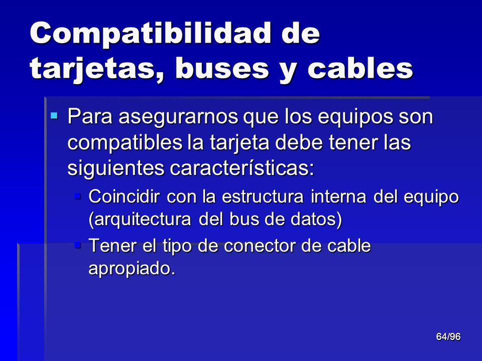 Compatibilidad de tarjetas, buses y cables