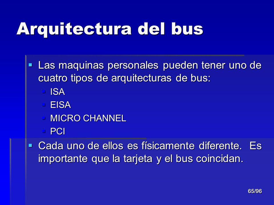 Arquitectura del bus Las maquinas personales pueden tener uno de cuatro tipos de arquitecturas de bus: