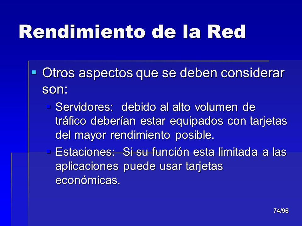 Rendimiento de la Red Otros aspectos que se deben considerar son: