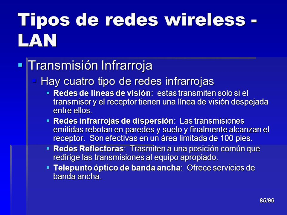 Tipos de redes wireless - LAN