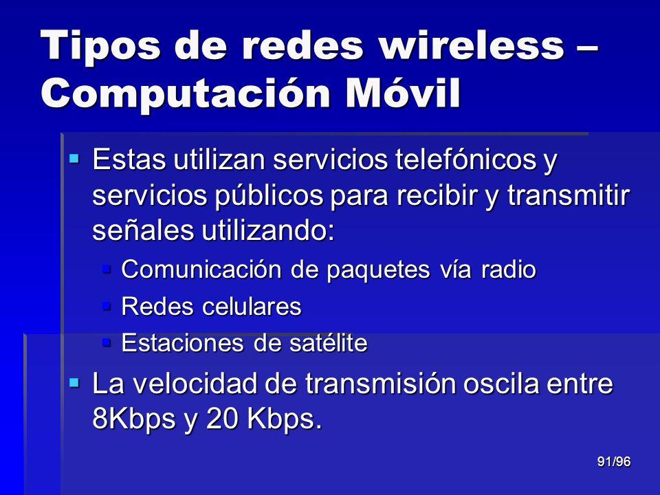 Tipos de redes wireless – Computación Móvil