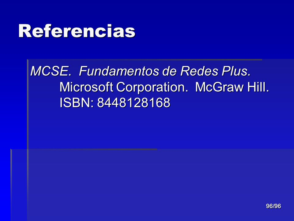Referencias MCSE. Fundamentos de Redes Plus. Microsoft Corporation.