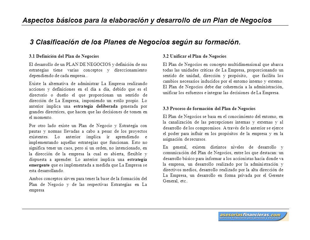 3 Clasificación de los Planes de Negocios según su formación.