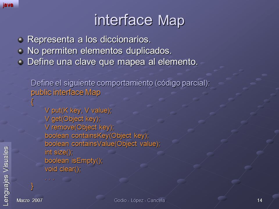 interface Map Representa a los diccionarios.