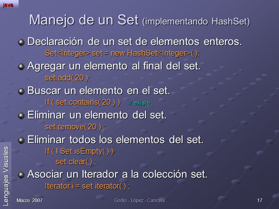 Manejo de un Set (implementando HashSet)