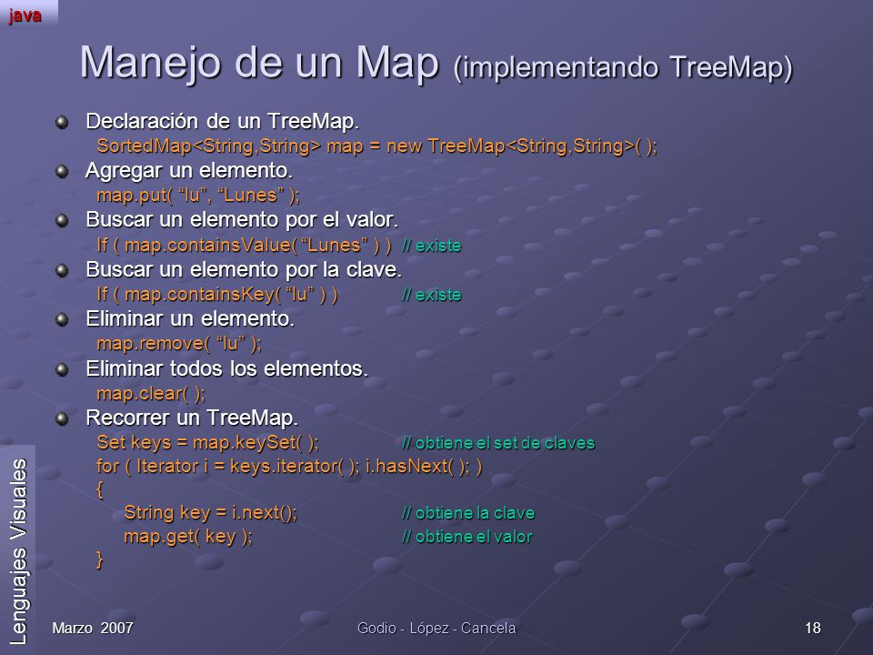 Manejo de un Map (implementando TreeMap)