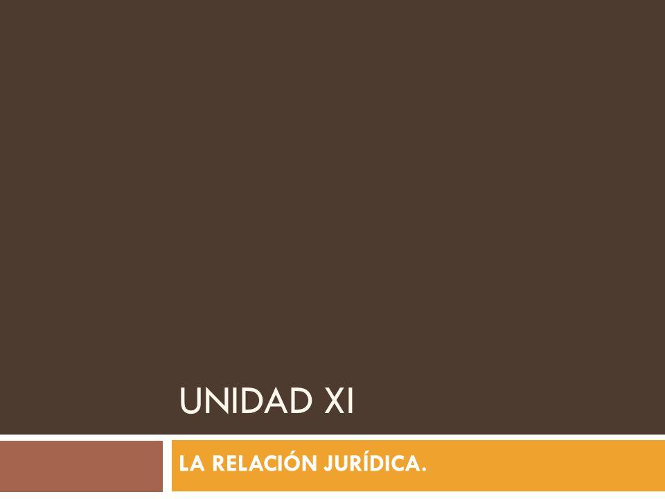 UNIDAD XI LA RELACIÓN JURÍDICA.