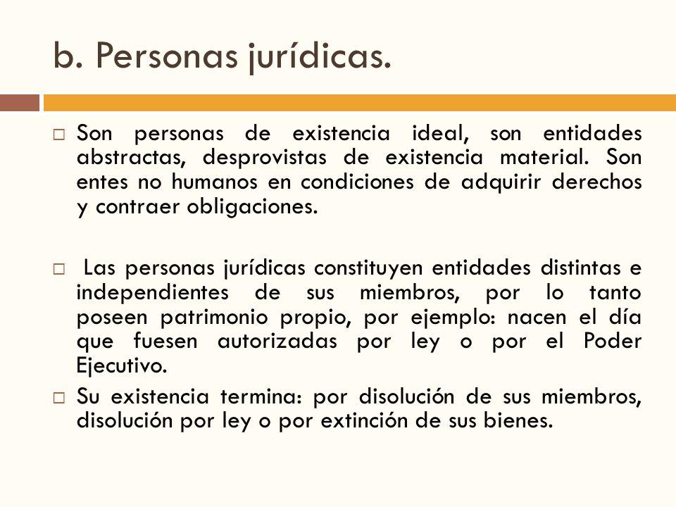 b. Personas jurídicas.