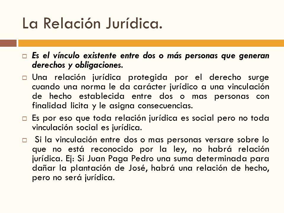 La Relación Jurídica. Es el vínculo existente entre dos o más personas que generan derechos y obligaciones.