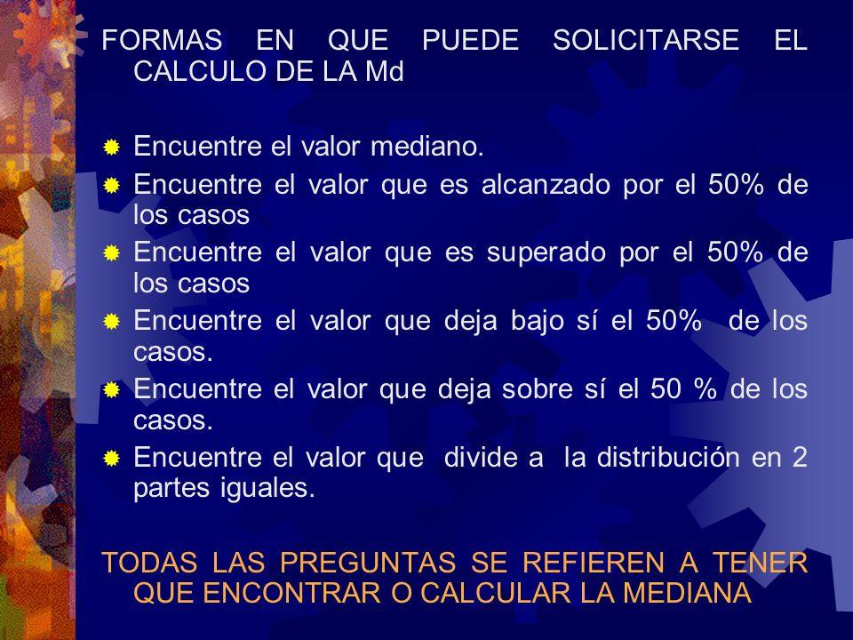 FORMAS EN QUE PUEDE SOLICITARSE EL CALCULO DE LA Md