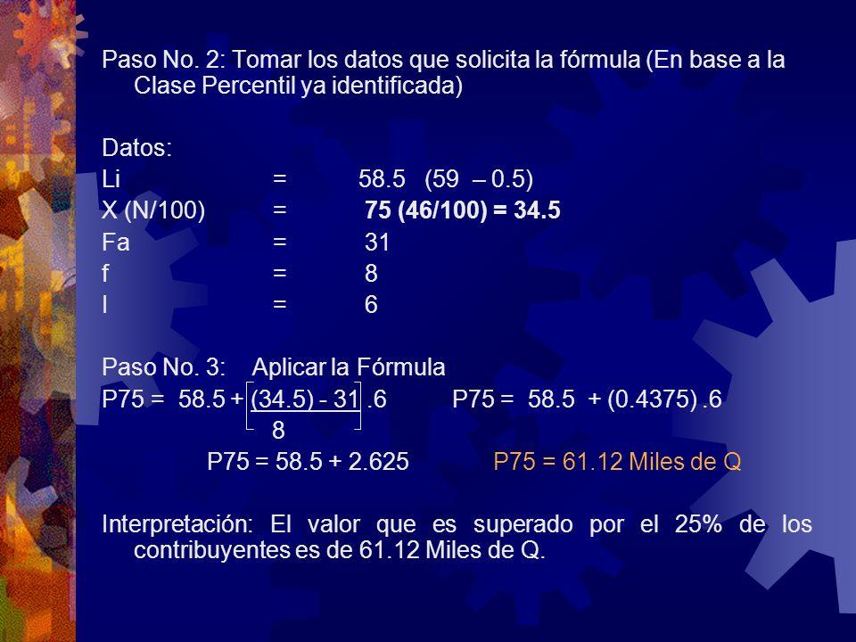 Paso No. 2: Tomar los datos que solicita la fórmula (En base a la Clase Percentil ya identificada)